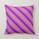 [ Thumbnail: Dark Violet, Light Coral, and Light Blue Pattern Throw Pillow ]