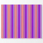[ Thumbnail: Dark Violet, Light Coral, and Light Blue Pattern Wrapping Paper ]