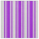 [ Thumbnail: Dark Violet & Light Gray Colored Stripes Fabric ]