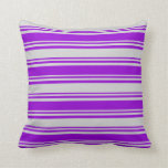 [ Thumbnail: Dark Violet & Light Gray Colored Stripes Pillow ]