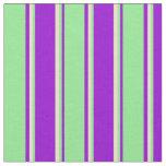 [ Thumbnail: Dark Violet, Light Green & Tan Stripes Pattern Fabric ]
