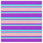 [ Thumbnail: Dark Violet, Light Pink & Cyan Colored Pattern Fabric ]