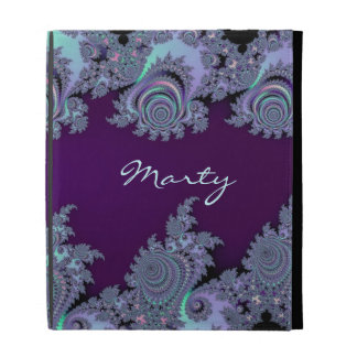 Dark Violet Midnight Fractal Abstract iPad Folio Covers