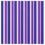 [ Thumbnail: Dark Violet, Mint Cream & Blue Lines Fabric ]
