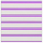 [ Thumbnail: Dark Violet & Mint Cream Stripes Pattern Fabric ]