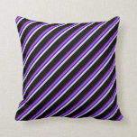 [ Thumbnail: Dark Violet, Orchid, Blue, Beige, and Black Lines Throw Pillow ]