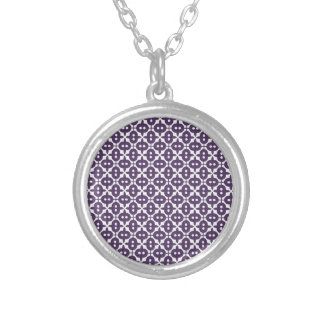 Dark Violet Plum And White Pattern Round Pendant Necklace