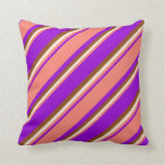 [ Thumbnail: Dark Violet, Salmon, Beige, and Brown Colored Throw Pillow ]