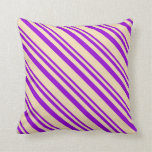 [ Thumbnail: Dark Violet & Tan Colored Pattern Throw Pillow ]