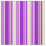 [ Thumbnail: Dark Violet & Tan Stripes/Lines Pattern Fabric ]