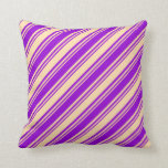 [ Thumbnail: Dark Violet & Tan Stripes/Lines Pattern Pillow ]