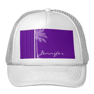 Dark Violet Vertical Stripes; Palm Trucker Hat