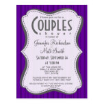 Dark Violet Vertical Stripes Postcard