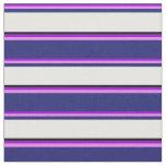[ Thumbnail: Dark Violet, Violet, Midnight Blue, White & Black Fabric ]