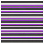 [ Thumbnail: Dark Violet, White, and Black Colored Stripes Fabric ]