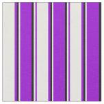 [ Thumbnail: Dark Violet, White & Black Lined/Striped Pattern Fabric ]