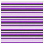 [ Thumbnail: Dark Violet, White & Black Striped Pattern Fabric ]