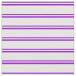 [ Thumbnail: Dark Violet & White Colored Stripes/Lines Pattern Fabric ]