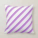 [ Thumbnail: Dark Violet & White Colored Stripes/Lines Pattern Throw Pillow ]