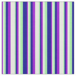 [ Thumbnail: Dark Violet, White, Green, and Dark Blue Pattern Fabric ]
