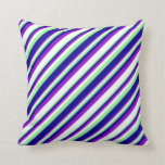 [ Thumbnail: Dark Violet, White, Green, and Dark Blue Pattern Throw Pillow ]