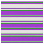 [ Thumbnail: Dark Violet, White & Green Colored Lines Fabric ]