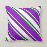 [ Thumbnail: Dark Violet, White & Green Colored Lines Pillow ]