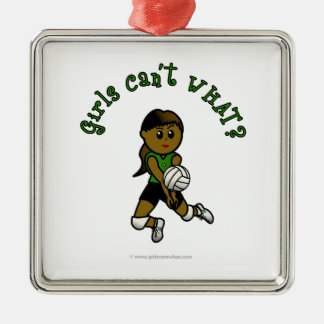 Dark Volleyball in Green Metal Ornament