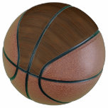 Dark Walnut Brown Bamboo Wood Grain Look Basketball