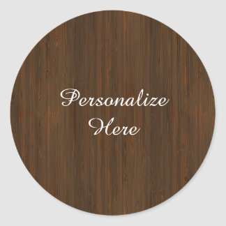 Dark Walnut Brown Bamboo Wood Grain Look Classic Round Sticker
