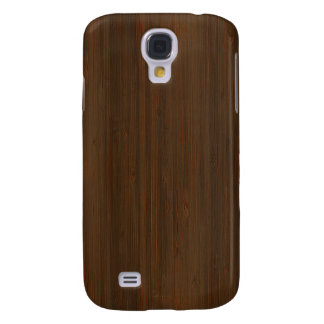 Dark Walnut Brown Bamboo Wood Grain Look Galaxy S4 Case