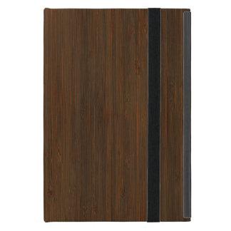 Dark Walnut Brown Bamboo Wood Grain Look iPad Mini Cover