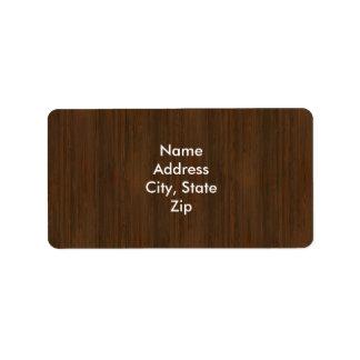 Dark Walnut Brown Bamboo Wood Grain Look Label
