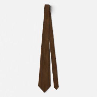 Dark Walnut Brown Bamboo Wood Grain Look Neck Tie