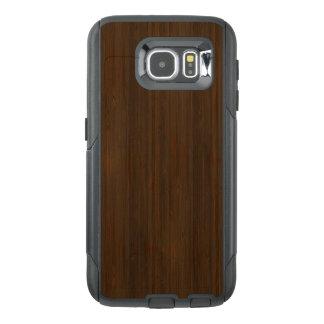 Dark Walnut Brown Bamboo Wood Grain Look OtterBox Samsung Galaxy S6 Case