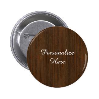 Dark Walnut Brown Bamboo Wood Grain Look Pinback Button