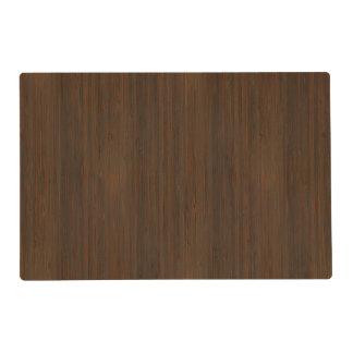 Dark Walnut Brown Bamboo Wood Grain Look Placemat