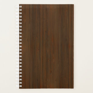 Dark Walnut Brown Bamboo Wood Grain Look Planner