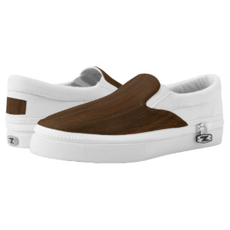 Dark Walnut Brown Bamboo Wood Grain Look Printed Shoes