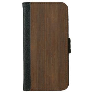 Dark Walnut Brown Bamboo Wood Grain Look Wallet Phone Case For iPhone 6/6s