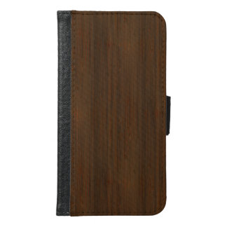 Dark Walnut Brown Bamboo Wood Grain Look Wallet Phone Case For Samsung Galaxy S6