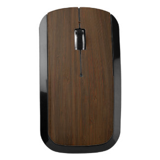 Dark Walnut Brown Bamboo Wood Grain Look Wireless Mouse