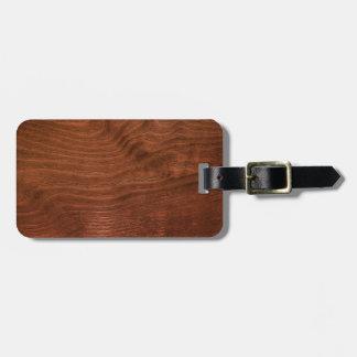 Dark Walnut Plywood Luggage Tag w/ leather strap