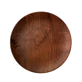 Dark Walnut Plywood Porcelain Plate