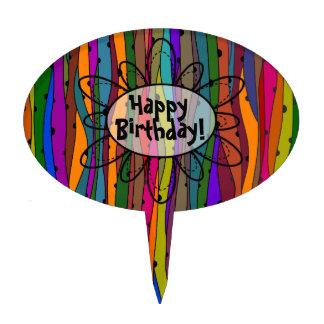 Dark Waves Happy Birthday Cake Topper
