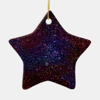 Dark Wavy Blue Red Faux Sparkle Glitter Pixel Ceramic Ornament