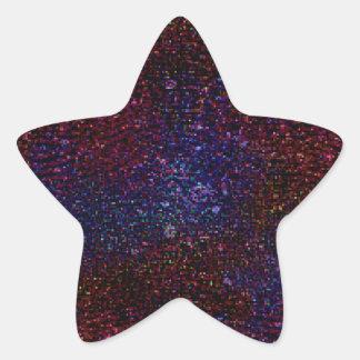 Dark Wavy Blue Red Faux Sparkle Glitter Pixel Star Sticker