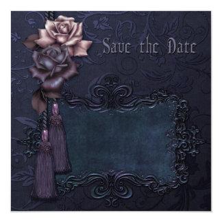 "Dark Wedding Gothic Save the Date card 5.25"" Square Invitation Card"
