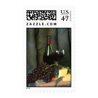Dark Wine and Cheese Postage Stamps (MEDIUM)