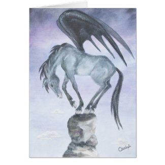 Dark Winged Fantasy Horse Card